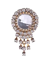 Chola Round Shaped Broach With Big Crystal In Centre and Small Crystals Outside With Stone Chains (Silver)