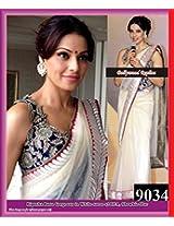 Bipasha Basu White Net Bollywood Saree