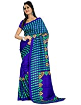 Gugaliya's Checkered, BLUE Solid Fashion Classy Art Silk Sari GV8855