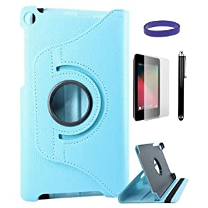 DMG Full 360 Rotating Stand Cover Case for ASUS Google Nexus 7 2013 Edition with Matte Screen Protector + Stylus +DMG Wristband -Blue
