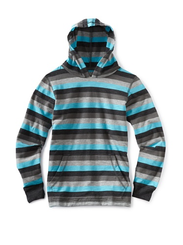 Micros Boys 8-20 Long Sleeve Knit Hooded Pullover (Turquoise)