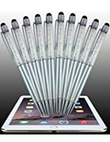 United Crystal Stylus, 10-Pack 2-1 Silver Crystal Pen and Stylus For All Touch Screen Devices, iPhone 6 S Plus, Samsung, Nexus, iPad, Tablets