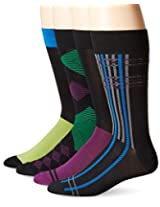 Papi Men's 4 Pack Diamond Crew Sock, Green/Purple, 10-13/Shoe Size 6-12