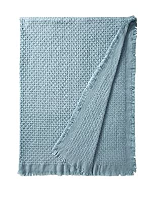a & R Cashmere Modern Basketweave Throw with Fringe, Lake