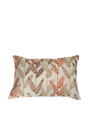 Filling Spaces Embroidered Abstract Ikat Pillow, Orange