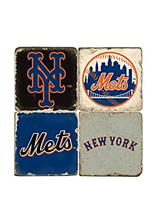 Studio Vertu Set of 4 Mets Logoed Tumbled Marble Coasters with Stand