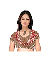 Fabfirki Brown and White Embroidered Dupian Blouse