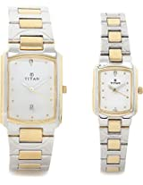 Titan Bandhan Analog Watch - For Couple Silver Gold - 19552955BM01