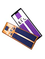 Sunshopping men's Navy blue and purple suspender(WSDWSDSC00017) (Navy blue and purple)