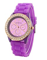Geneva Rhinestone collection Silicone Strap Analog Purple color Womens watch