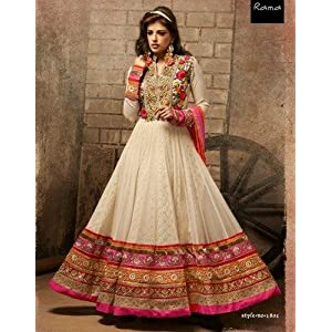 off-white Net suit with pure jacquard inner with Embroidered jari Work Unstitched Long Anarkali Salwar Kameez Suit