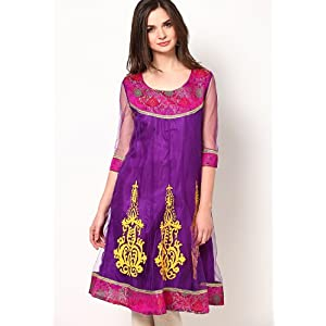 Purple Embroidered Kurti