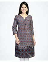 Cotton Ajrak Front Tie-up Mini Kurta-