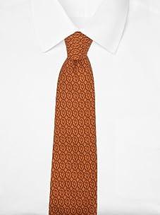 Hermès Men's Medallion Tie (Orange/Brown)