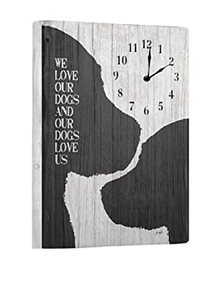 We love our dogs Reclaimed Wood Clock