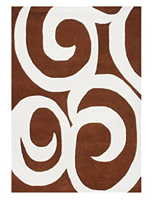 Znz Rugs Gallery Handmade Tufted New Zealand Blend Wool Rug, Leather Brown/Off-White, 5' x 8'