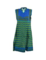 Handicraft Kottage Women's Cotton Blue Sleeve Separate Kurti