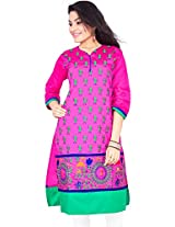 Rucchi By Praveen Women Cotton Silk Self Print Kurta (318-Pink-X-Large _Pink _X-Large)