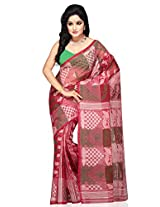 Utsav Fashion Women's Red Cotton and Silk Tant Bengal Handloom Saree with Blouse