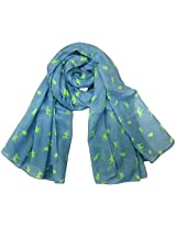 INDMODE Girls' Scarf (Light Blue and Neon Green)