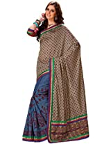 Orbymart Cream Color Raw Silk Saree - 55206666
