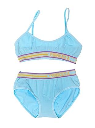 Princesa Conjunto Top Y Braguita Seamless (Sin Costuras) De Algodón (Azul)