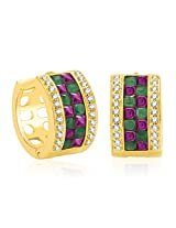 Sukkhi Glamorous Gold And Rhodium Plated Ruby CZ Hoop Earrings For Women
