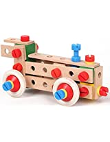 Wooden 72-Pieces Locomotive Building & Construction Set, For Ages 5+ Years