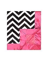 """My Blankee Chevron Minky Black/White w/ Minky Dot Raspberry Baby Blanket, 30"""" x 35"""""""