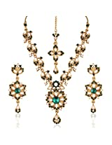 I Jewels Traditional Gold Plated Elegantly Handcrafted Kundan & Stone Jewellery Set with Maang Tikka for Women L3097G (Green)