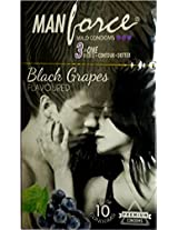 Manforce 3 in 1 Wild Ribbed Contour Dotted Condoms - Pack of 20 (Black Grapes Flavored)