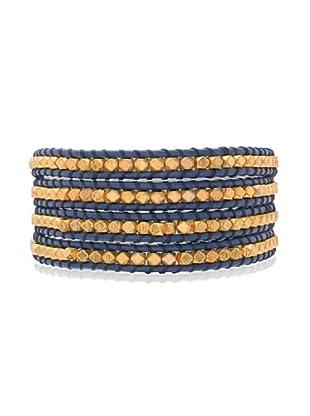 Lucie & Jade Echtleder-Armband Metallbeads blau/gold
