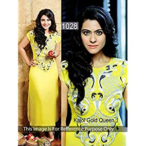 Kajol Georgette Embroidered Yellow Bollywood Style Unstitched Suit - PO1028RC8