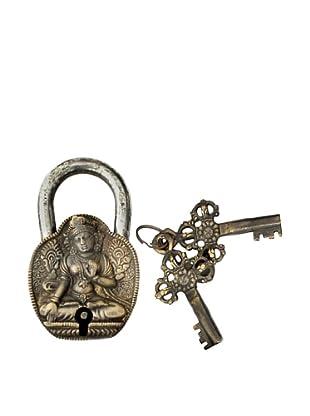 Locks of Love Vintage Inspired Brass Padlock with Buddha Design, c1960s