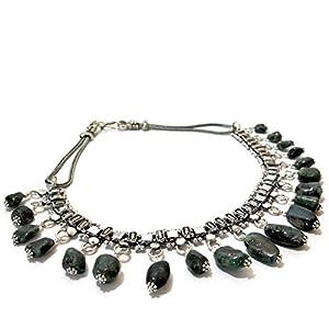 Daamak Jewellery Oxidised Necklace -Dark Green
