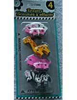 Character Erasers 4 Pack Different Styles Available