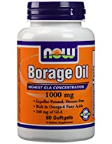 NOW Foods Borage Oil 1000mg, 60 Softgels (Pack of 2)