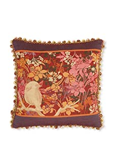 "Corona Decor Co. Garden Bird Collection 18"" Pillow, Plum/Rose/Orange/Beige"