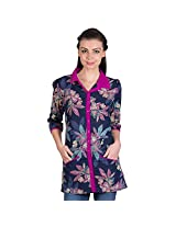 Ayaany Blue Printed 3/4th Sleeve Cotton Shirt For women