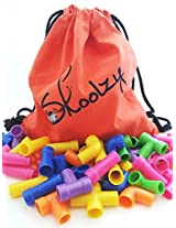 50 Pipe Connectors with Backpack - Tube Builders Tubation Stacking Preschool Construct Imagination C
