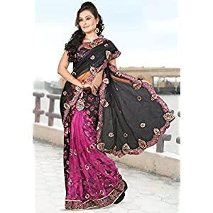 Black Net and Faux Georgette Brasso Lehenga Style Saree With Blouse