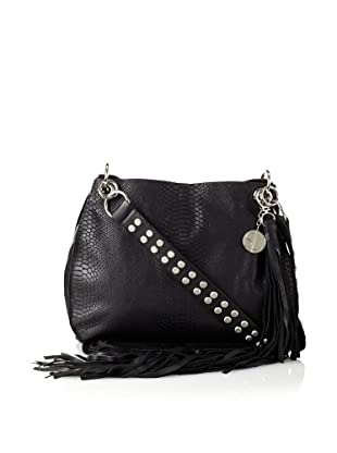 Stella & Jamie Women's Mona Embossed Leather Fringe Shoulder Bag (Black)