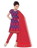 Kala Sanskruti Women Cotton Satin Bandhani Violet Dress Material