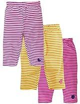 Snuggles Straight Striper Legging (Pack Of 3) - Aurora Pink/Lilac Sachet/Pastel Yellow (0-3M)