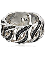 Men's Black Rhodium Plated Sterling Silver Chain Black Diamond Ring (1/5 Cttw, Black Color), Size 10