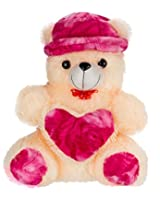 Adorable Cream-Magenta Teddy with CAP and HEART (30 inch)