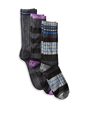 Florsheim Men's Multi Socks (3 Pair) (Charcoal/Charcoal Stripe/Black Stripe)