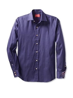 Rufus Men's Button-Up Shirt (Puple Stripe)