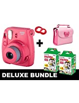 Fujifilm Instax Mini 8 - Raspberry + 40 Pack Instax Film + Butterfly Pink Gm Bag + Red Selfie Mirror