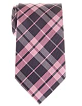 "Retreez Preppy Plaid Check Woven Microfiber 3.15"" Men's Tie - Pink and Grey"